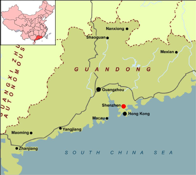 Figure 1: Map of  Guangdong  Province  Source:   Guangdong .2016. Image.  &   Guangdong Province Map .  2016. Image.