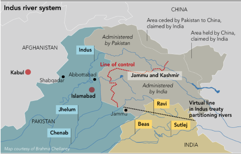 Figure 2: Map of Kashmir with LoC