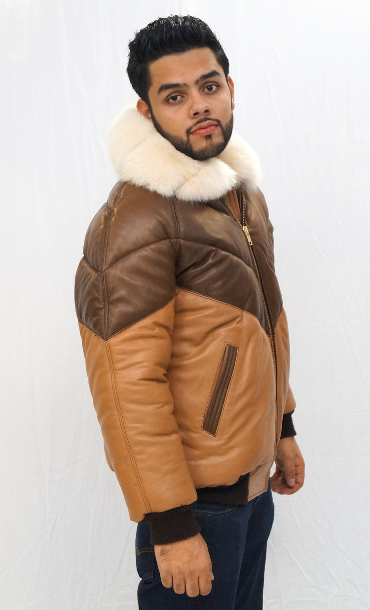 Leather Bomber Jacket With Fur Collar - Leather Bomber Jacket With Fur Collar — Daniel's Leather