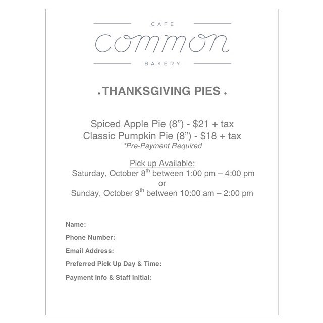 Thanksgiving is just around the corner and we want to make things a little easier for you! We are offering ready to go Classic Pumpkin or Spiced Apple Pies for you to order! Come on into the shop, leave your email below, or send us a message on our Facebook page and we will get you booked in! Order soon; limited quantities available! 🍂🍎🎃
