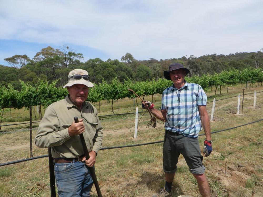 Les, our Winemaker to the left and Dr. Robertson, to the right.