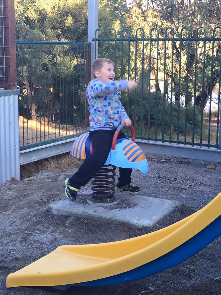 Kid friendly winery: One of the children enjoying the new playground.