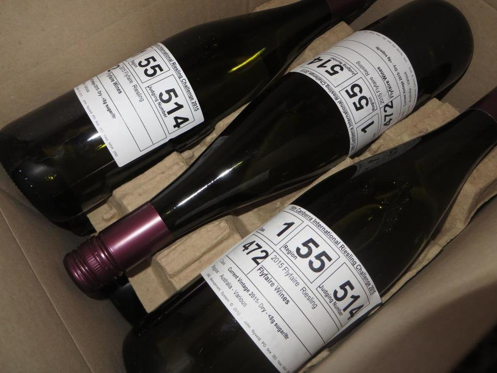 Flyfaire 2015 Riesling packed and ready for Canberra Riesling Challenge