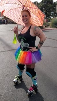 Ima Hazard skates in the 2016 Albuquerque Pride Parade. Photo by Rainbow Smash.