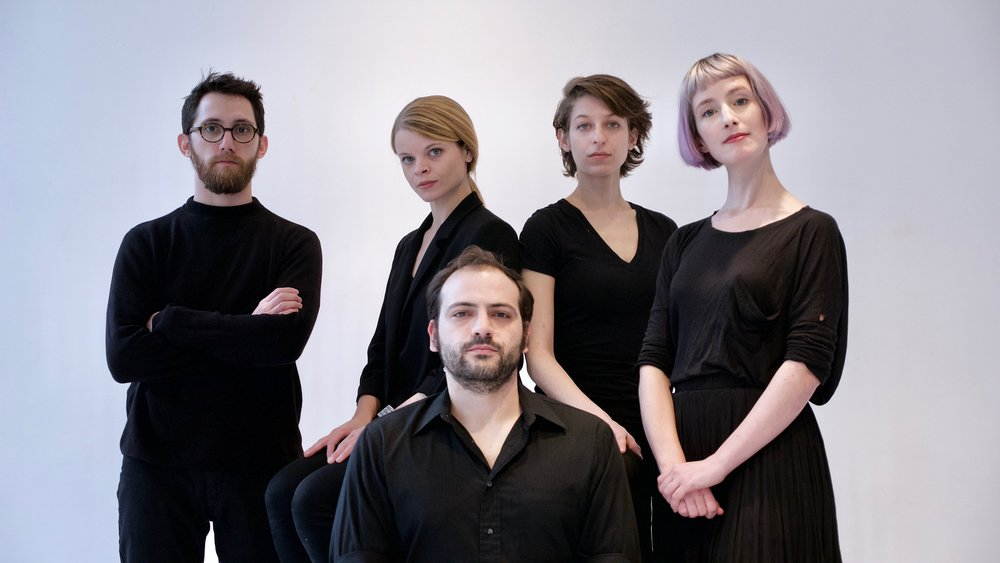 TAK ensemble (left to right): Carlos Cordeiro, Laura Cocks, Ellery Trafford, Marina Kifferstein, and Charlotte Mundy
