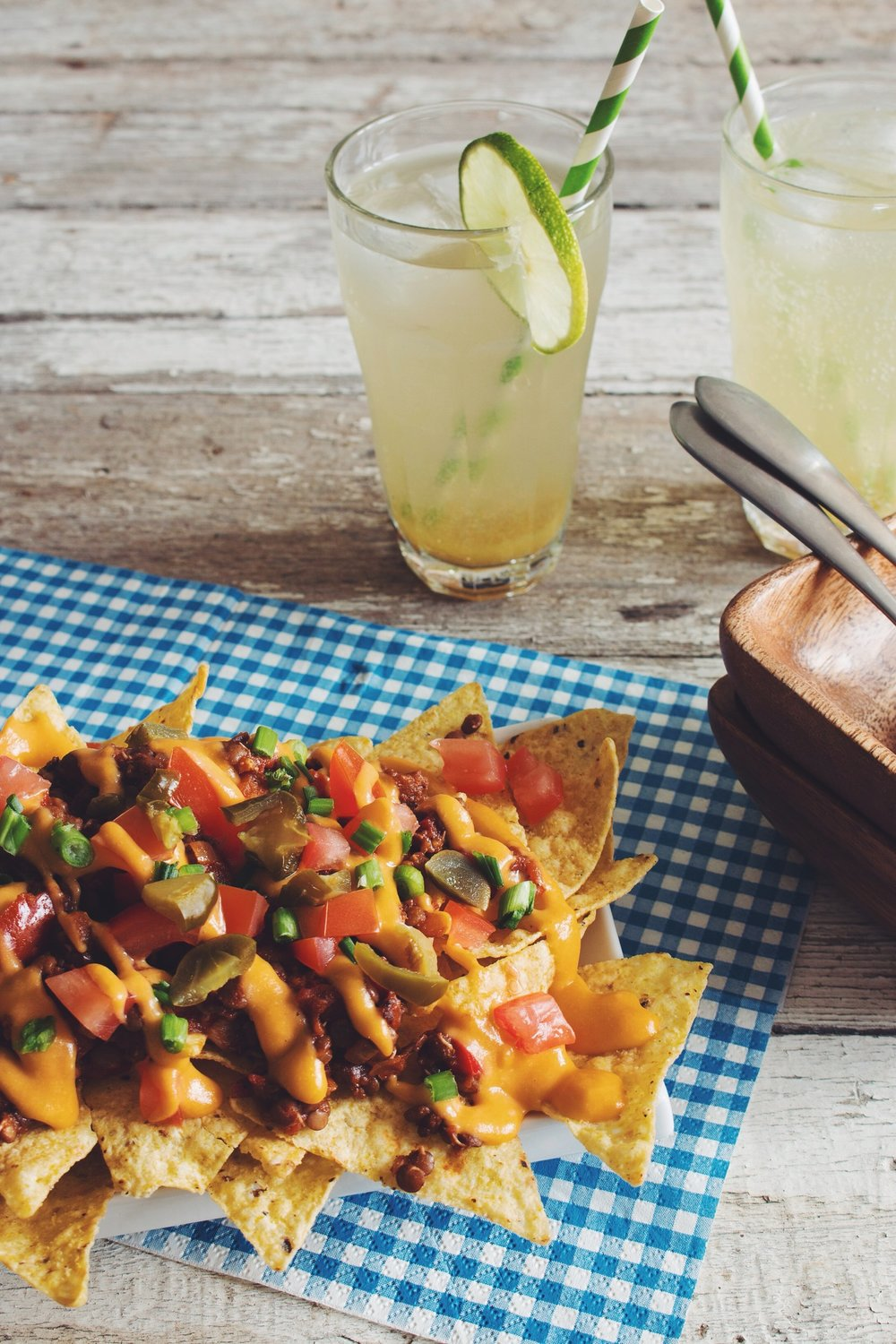 Lentil Chili Cheese Nachos