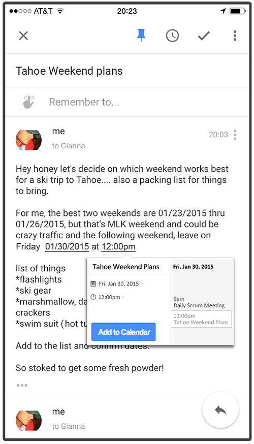 "Mobile Gmail Imagined With ""Add to Calendar"""