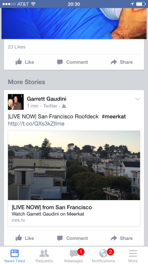 Meerkat Livestream Alert Posted To Facebook
