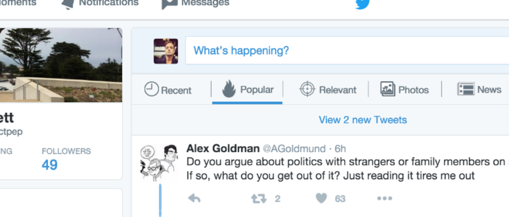 """Twitter Home Feed with """"clicker"""" for choosing channel, giving control to users."""