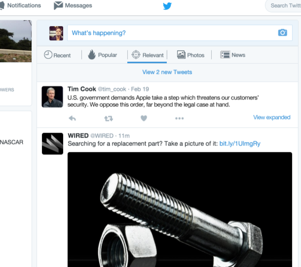 """Twitter Home Feed (""""clicker"""" set to Relevant) showing an  Expandable   Tweet"""