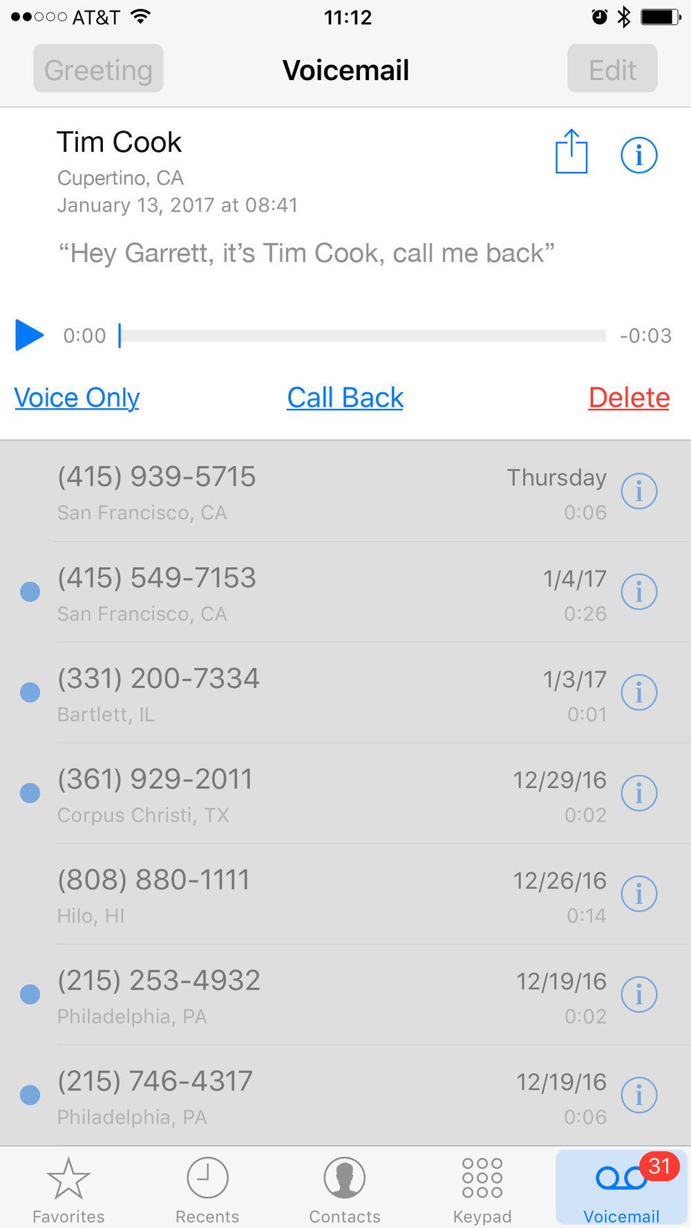 Video Messages display in the same list as Voice Messages. Option for voice only or full vid.