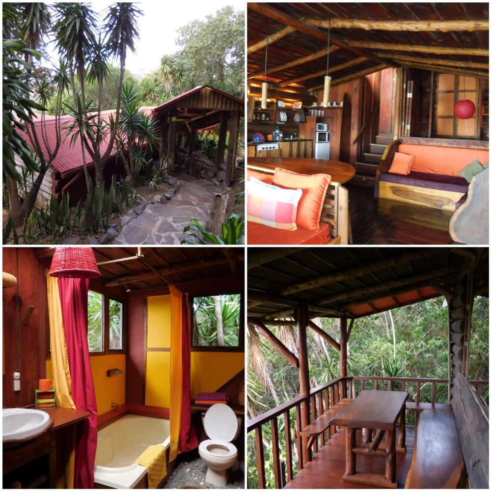 My personal Cabin in Monteverde. Picture of the outside walking up, the interior, and the porch with 180 degree views.