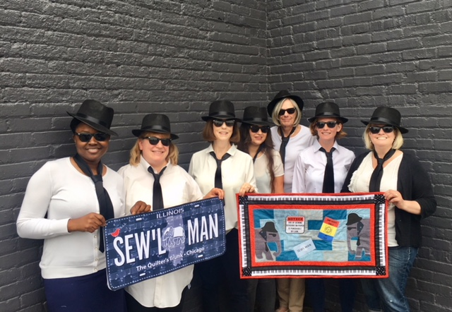 Here is a pic of our great staff of Blues Sisters. Or are they Sew'l Sisters?  - Don't you love the Blue Brothers costumes? Well, we have them in the shop! --> Put a costume on--> Snap a pic wearing it--> Post your pic to social media tagged with #thequilterstrunk--> We will give you a $5 gift certificate to TQT!