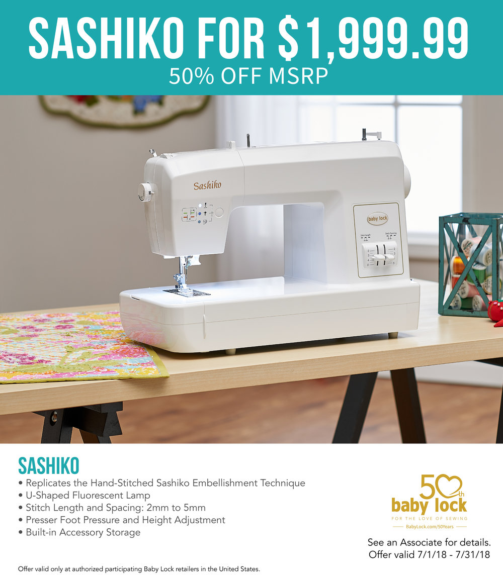 The Special Sashiko Machine will make all of your quilting and home decor projects unique! - In July, the Sashiko is being offered at 50% off MSRP!