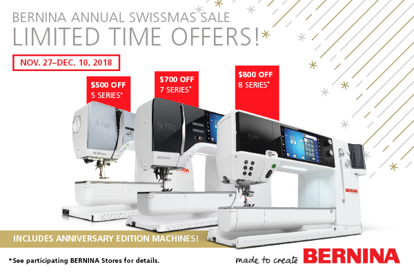 November 27 - December 10 - BIG savings on the amazing 5, 7 and 8 series machines. TQT will match the savings with a gift card to the shop.