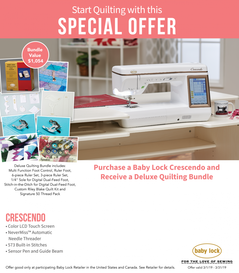 The amazing CRESCENDO will make all your quilting and sewing dreams come true! - In March, receive a Deluxe Quilting Bundle worth more than $1,000 FREE when you take your new CRESCENDO home!