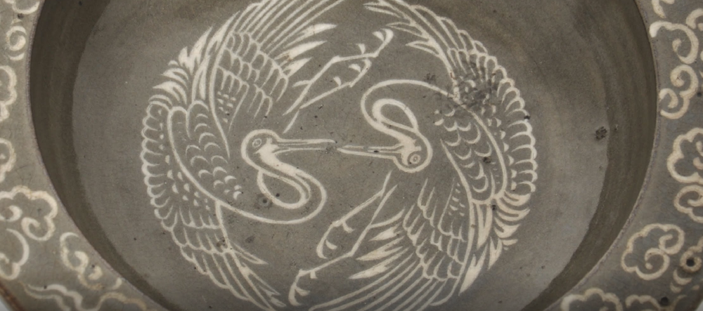 Yatsushiro plate with inlay design of clouds and cranes · 1801 — 1870 · Yatsushiro Municipal Museum