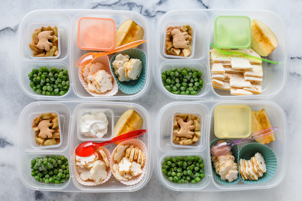 Tuesday: quesadillas, cut into fun little shapes.  With sour cream for dipping, peas, apple, and quick apple 'pie' dessert - animal crackers on the bottom, apple pie filling, animal cracker on the top.