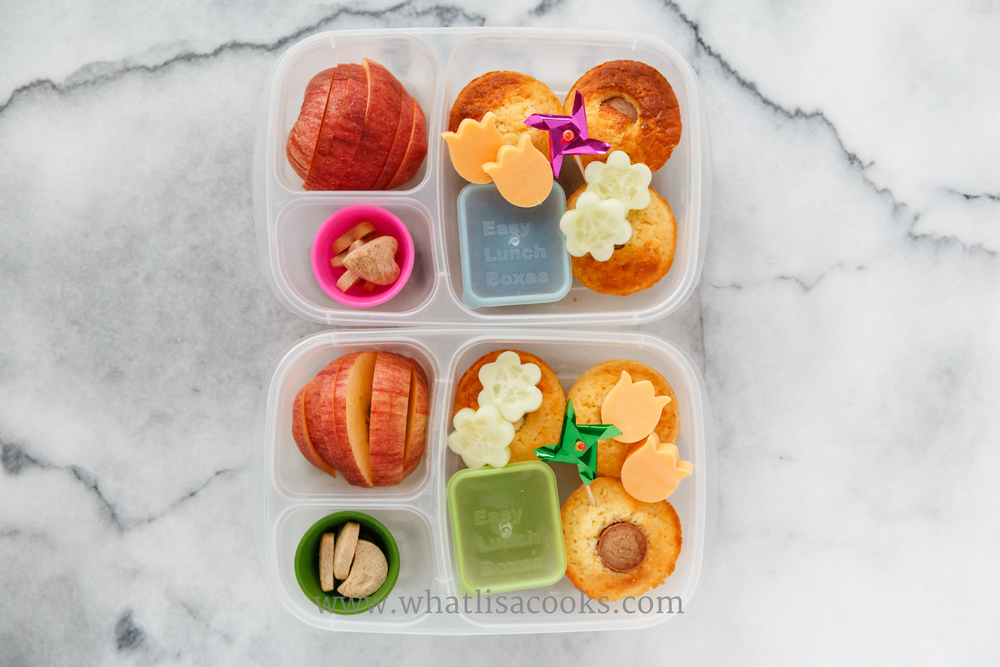 Happy First Day of Spring lunch.  Corn dog muffins , organic ketchup for dipping, cucumber &cheddar cheese flowers, apples, homemade mini sugar cookies. Packed in  Easy Lunchboxes , with  Mini Dipper containers .