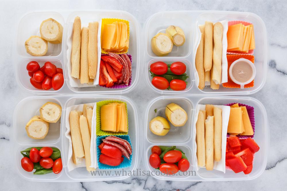 Breadsticks, cheese, salami (one has sunbutter), veggies, bananas.