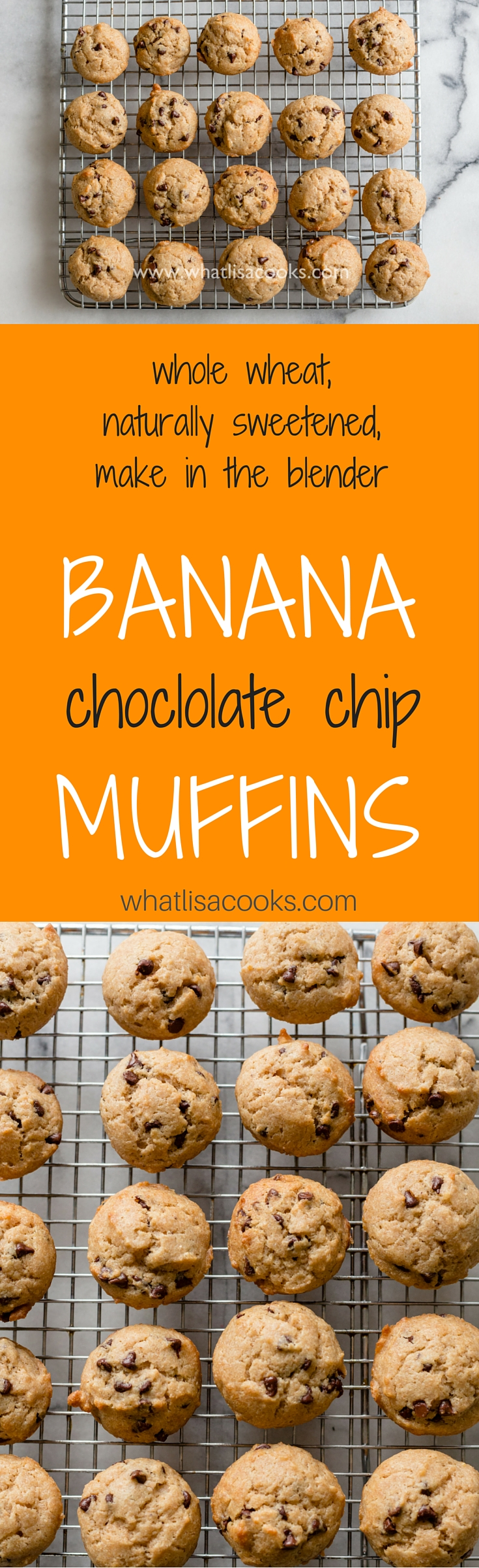 Wow - so easy!  Banana chocolate chips muffin recipe that's made in the blender! whatlisacooks.com