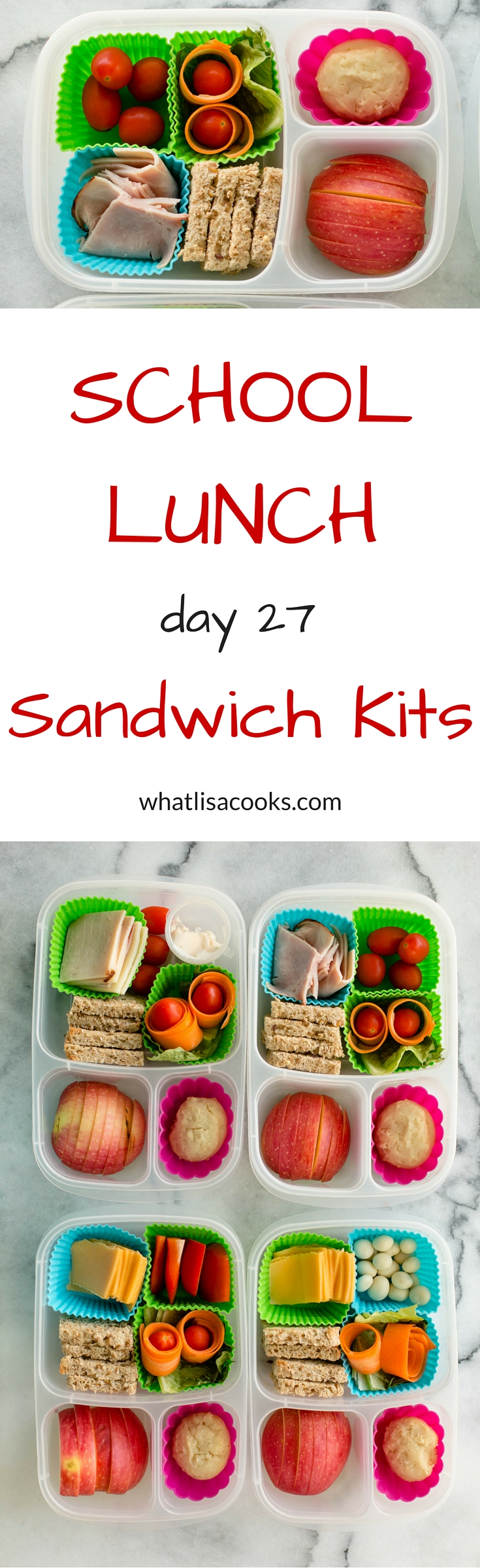 An easy twist on the classic sandwich: pack them a school lunch box with all the pieces of the sandwich, and let them assemble it themselves! whatlisacooks.com