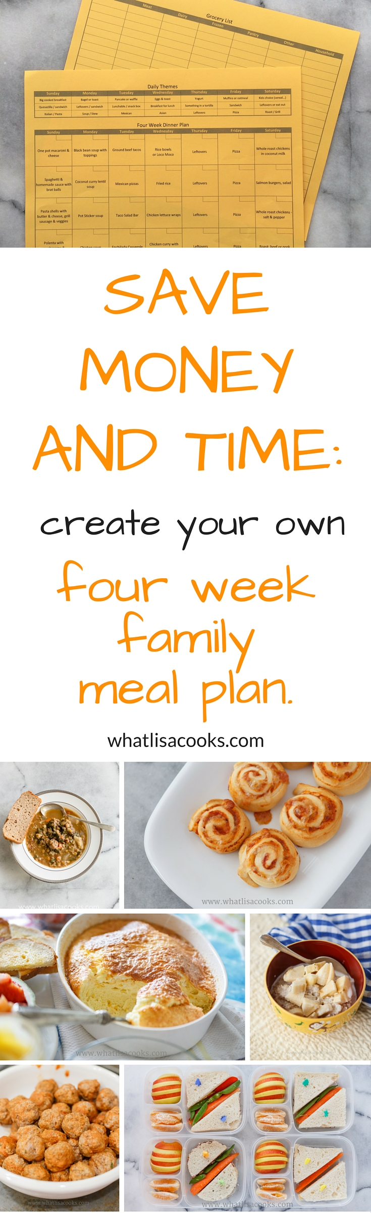 Save money and time by creating your own four week family meal plan. whatlisacooks.com