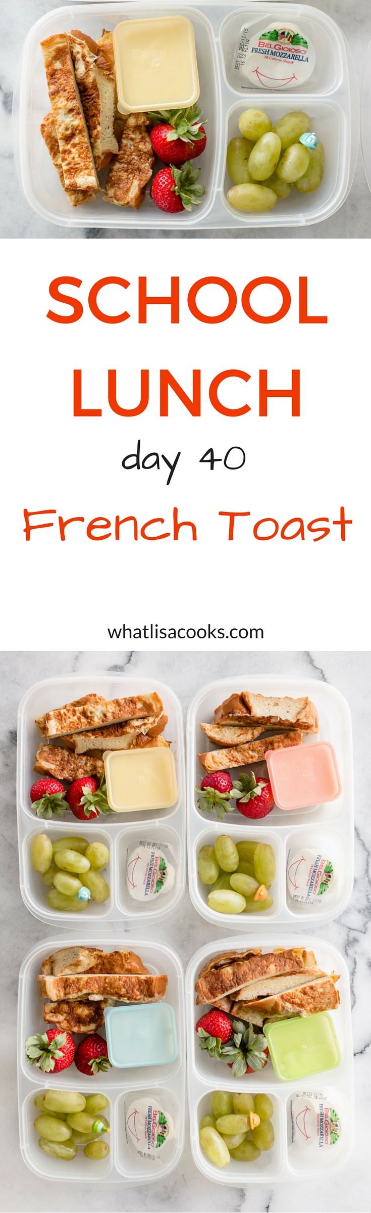 Give them breakfast for school lunch! An easy school lunch of French toast sticks from WhatLisaCooks.com