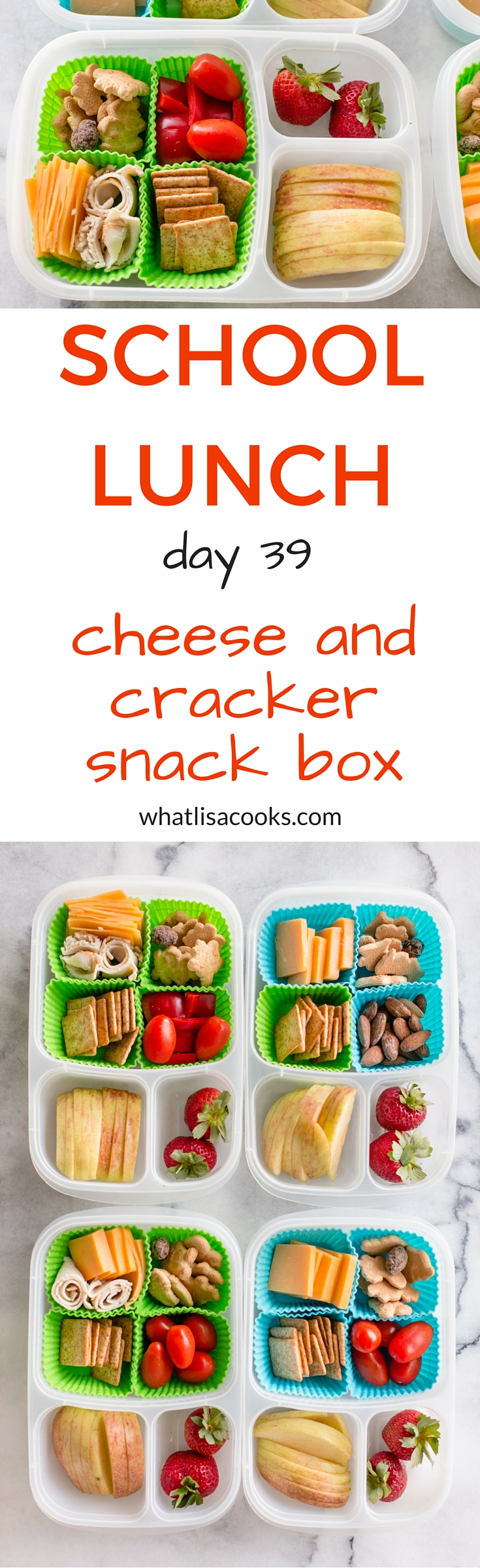 School lunch - cheese and cracker snack box - like a homemade lunchable. WhatLisaCooks.com
