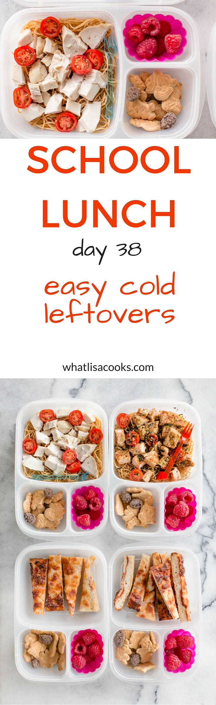 Easy packed school lunch: send them with leftovers to be eaten cold.  WhatLisaCooks.com