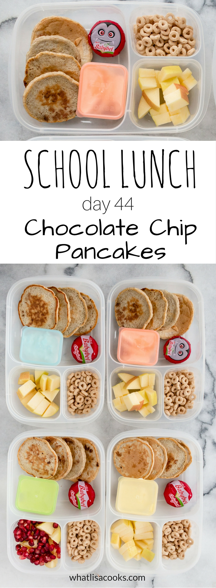 Chocolate chip pancakes for lunch?  It's breakfast for school lunch. Easy school lunch packing from WhatLisaCooks.com