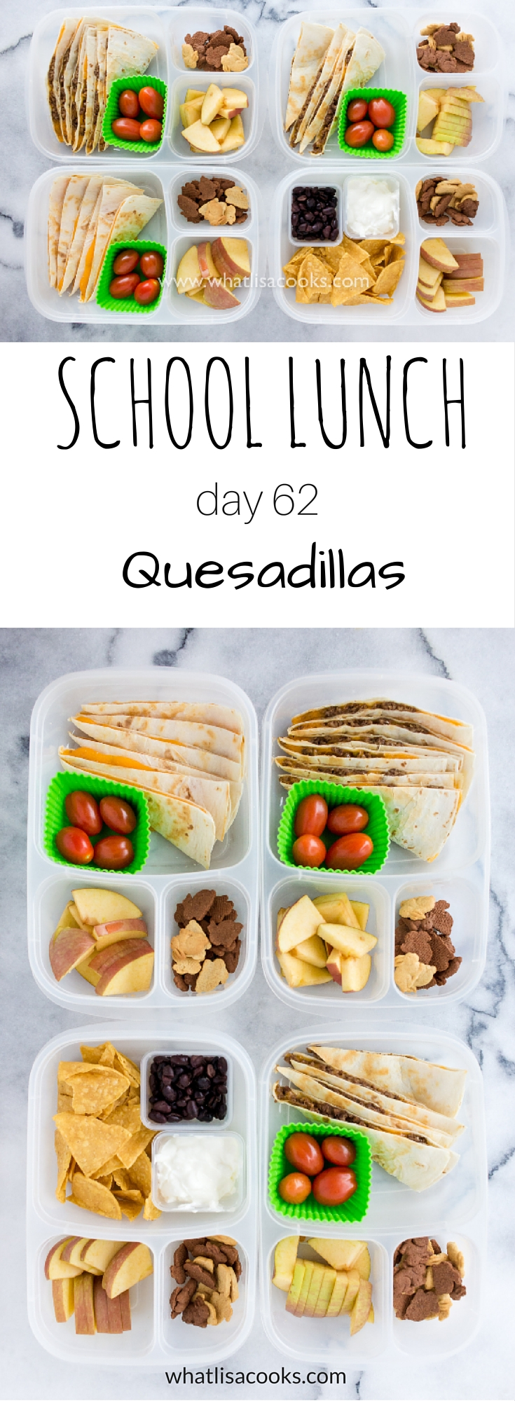 School Lunch Day 62 - quesadillas - from WhatLisaCooks.com