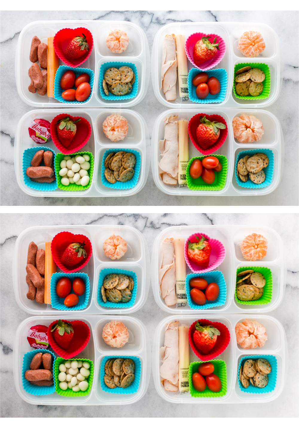 This is a lunch that was packed three days ahead of time. The top picture was taken the day it was packed.  The bottom picture was taken three days later! Can you tell the difference?