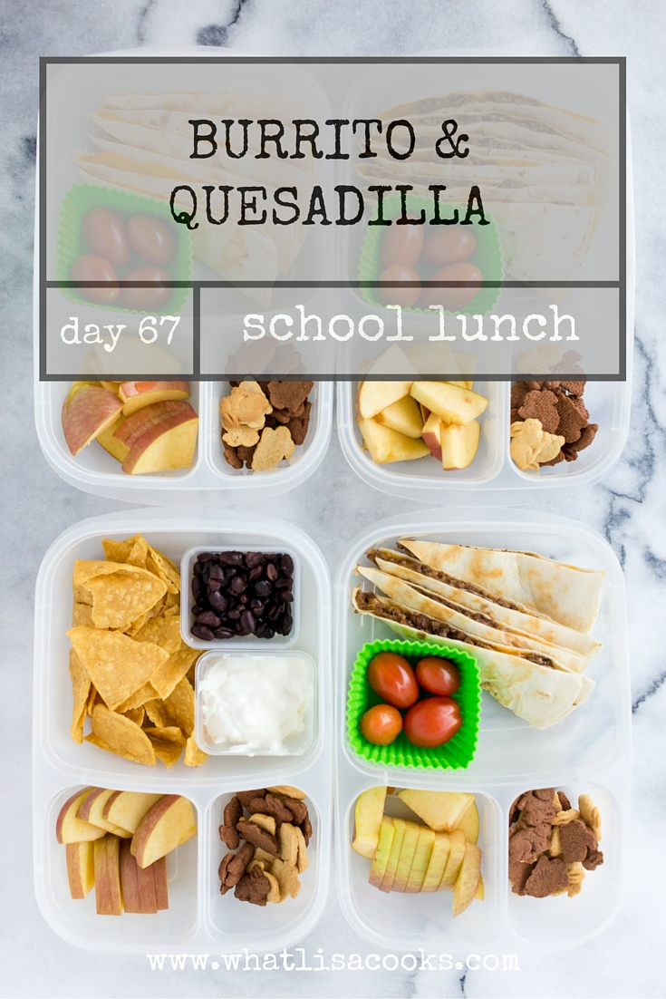 Try this idea for easy school lunch packing: burritos or quesadillas. whatlisacooks.com