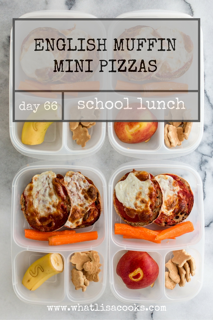 so easy! english muffin pizzas for school lunch - make extra for the freezer.