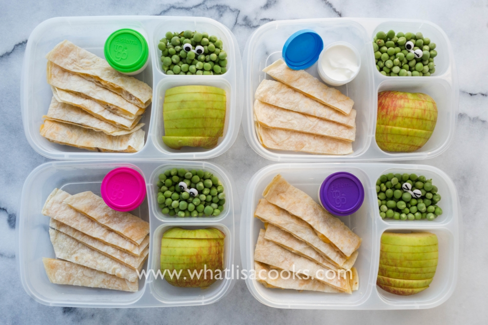 Easy quesadillas with apples and peas