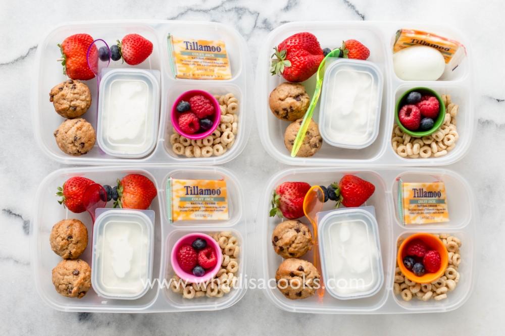 Homemade mini muffins, yogurt, and cereal