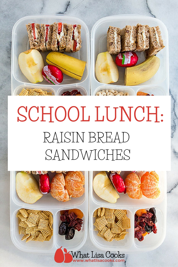 An easy packed school lunch from whatlisacooks.com - pack breakfast for lunch with cream cheese and raisin bread sandwiches.