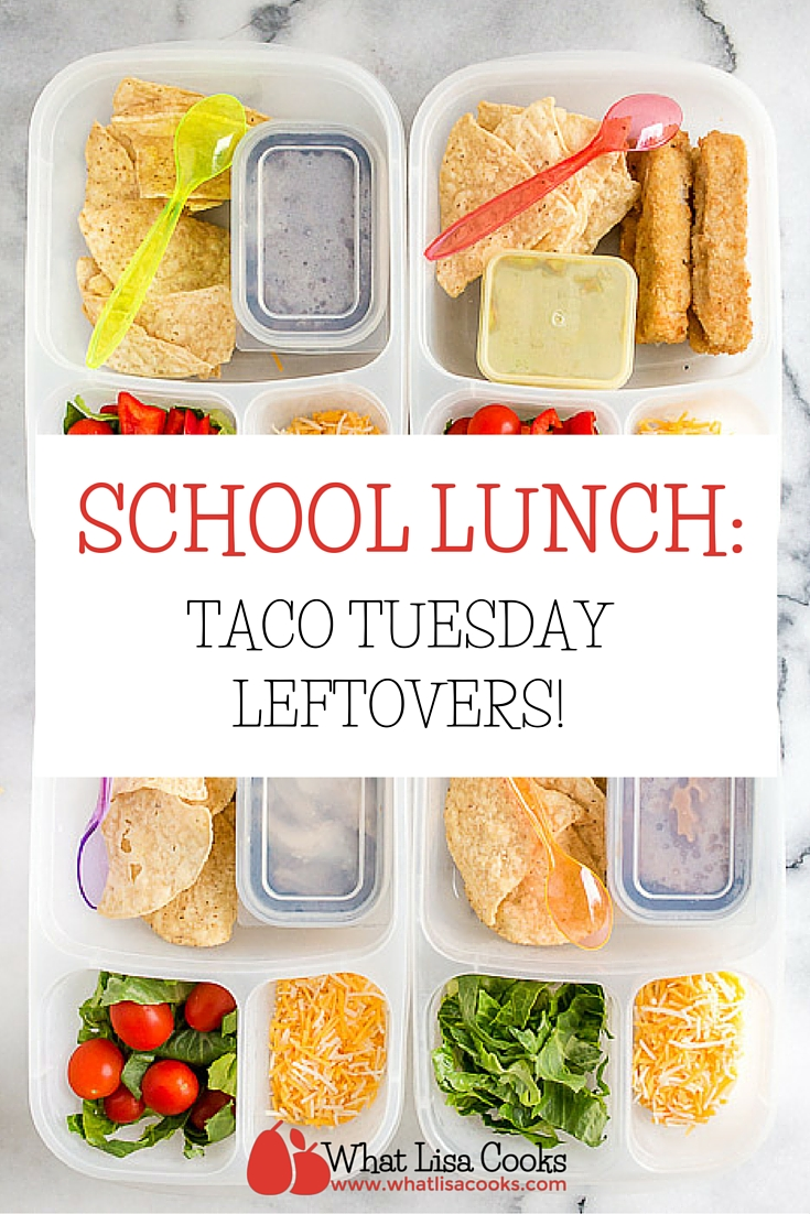 easy packed school lunch ideas from whatlisacooks.com - pack up leftovers from Taco Tuesday for lunch!