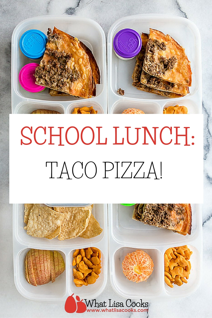Pack a school lunch they will love! This is a great idea from whatlisacooks.com - taco pizza!