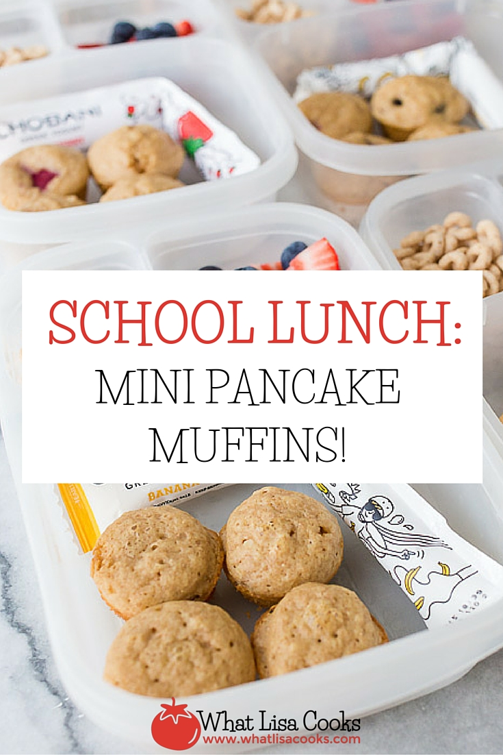 Fun and easy idea for school lunch packing from whatlisacooks.com - mini pancake muffins
