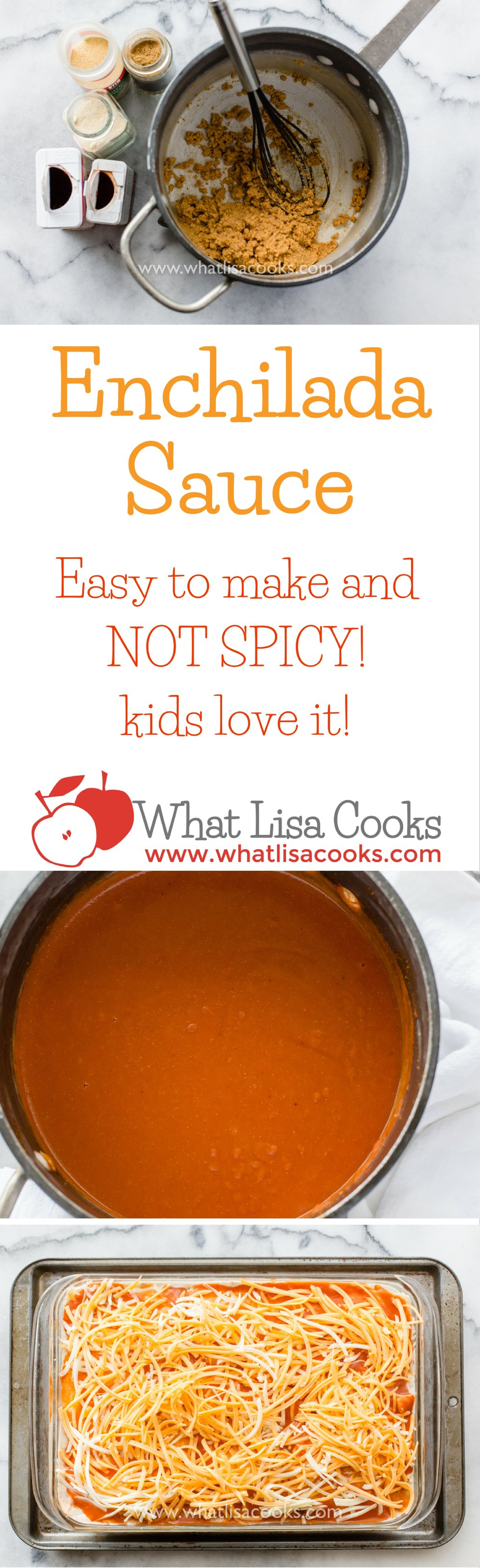 Easy homemade enchilada sauce that's not spicy, from whatlisacooks.com. Kid friendly enchilada sauce. Not spicy enchilada sauce.