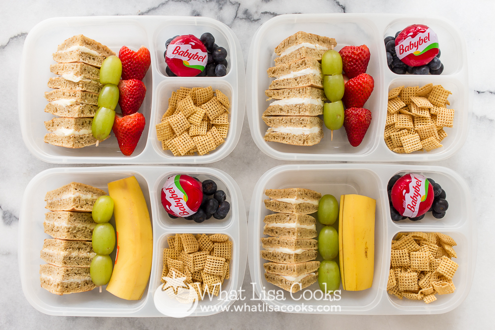 Pancake sandwiches and fruit