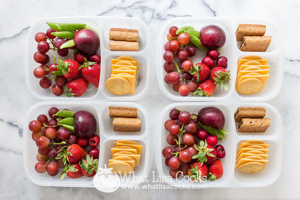 Fruit medley with cheese and crackers
