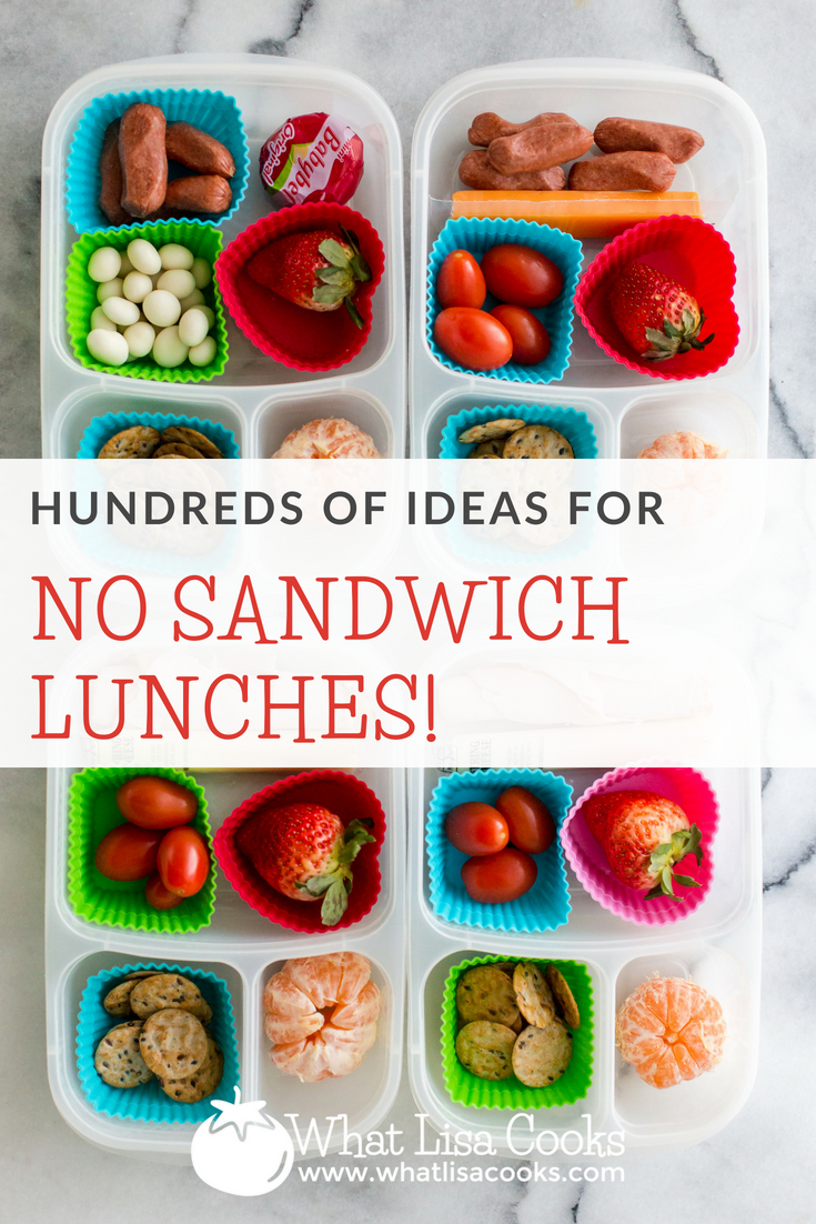 Non sandwiches lunches, from whatlisacooks.com. Lunch ideas without bread. No bread lunch ideas. Sandwich alternatives.