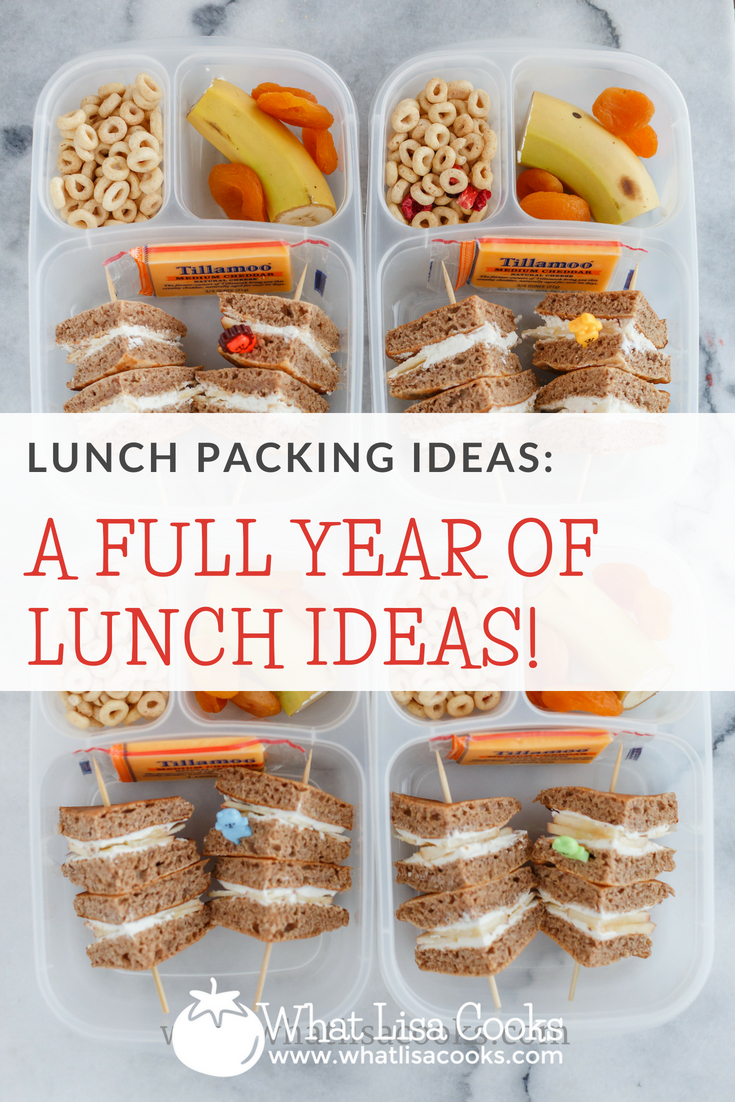 Never run out of school lunch ideas again - a full year of school lunch packing ideas from WhatLisaCooks.com