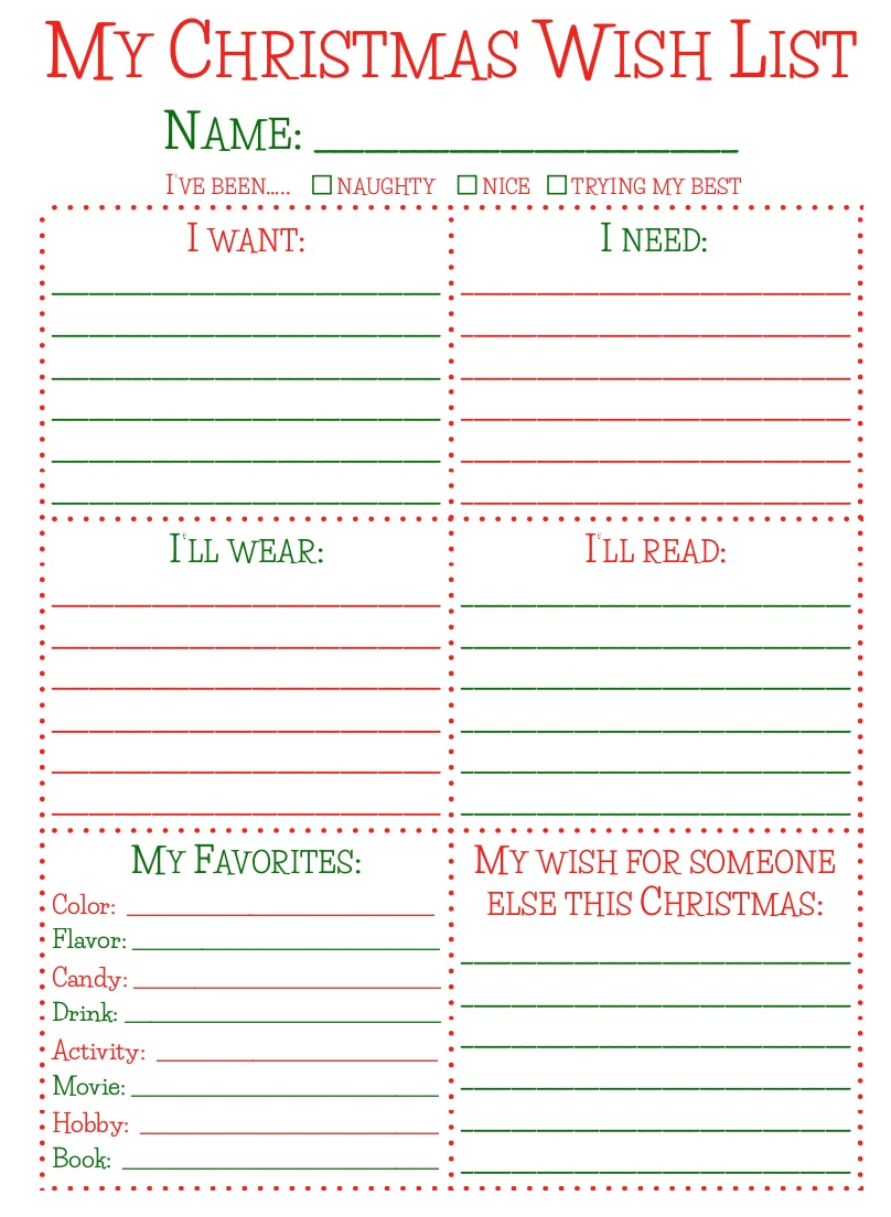 Printable Christmas Wish List For Kids.Free Christmas Printables What Lisa Cooks