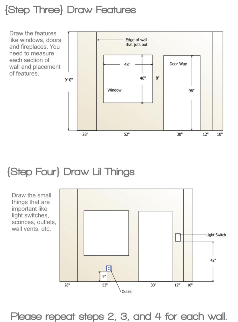 Draw each wall and draw in any doors windows trim crown for Standard crown molding size