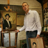 Tighe at his studio with some of the works from the exhibition. Photo:  Rodger Cummins