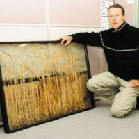 Martin with one of his Wheatfield Landscapes